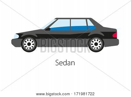 Sedan car isolated on white background. Saloon passenger auto in a three-box configuration with pillars articulated in separate compartments for engine, passenger and cargo vector illustration