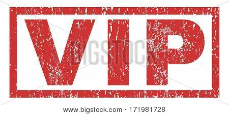 Vip text rubber seal stamp watermark. Tag inside rectangular banner with grunge design and scratched texture. Horizontal vector red ink emblem on a white background.