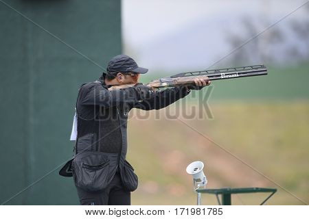 Rio Brazil - august 10 2016:Fehaid Al-Deehani (IOA) during Double Trap Men at Olympic Games 2016 in Olympic Shooting Centre Deodoro