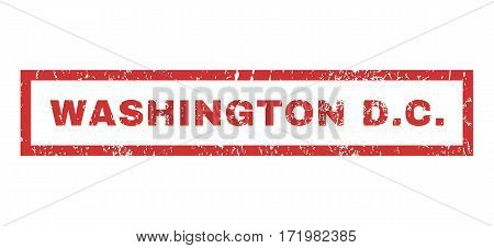 Washington D.C. text rubber seal stamp watermark. Tag inside rectangular banner with grunge design and scratched texture. Horizontal vector red ink emblem on a white background.
