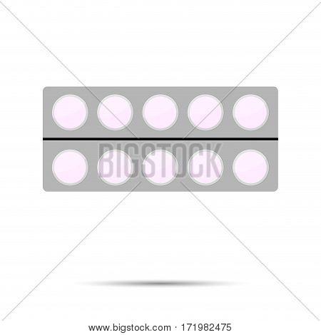 Pack of tablets vector. Health medical drug in pack illustration