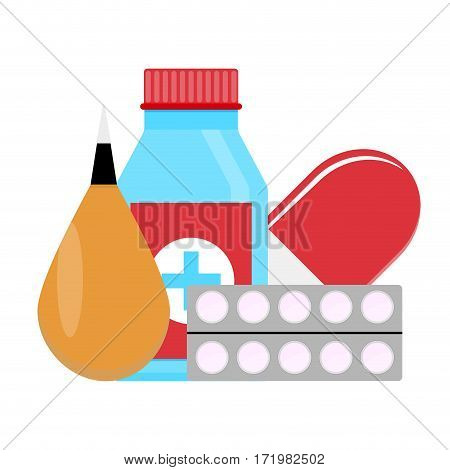 Set drugs vector. Medicine bottle for health pharmacy and drugs illustration
