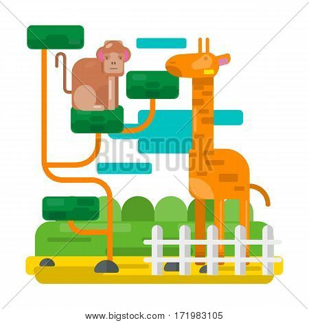 Giraffe near fence and monkey on abstract branches. Zoo picture in flat style design. Cartoon giraffe and monkey vector illustration for children book. Clouds in sky, fairy scenery, green grass