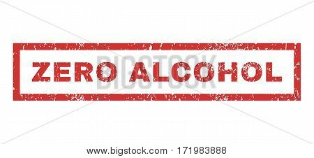 Zero Alcohol text rubber seal stamp watermark. Tag inside rectangular shape with grunge design and dust texture. Horizontal vector red ink sticker on a white background.