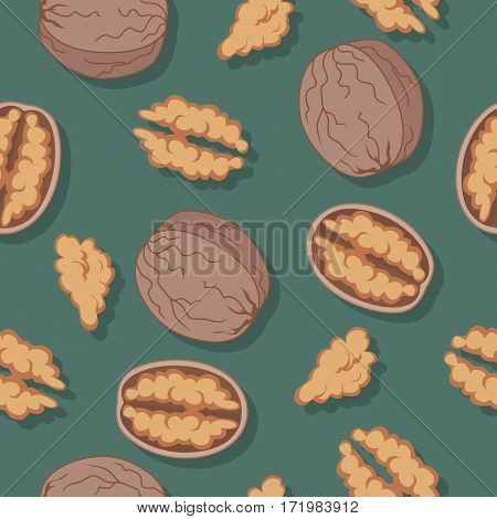 Walnut seamless pattern. Ripe walnut kernels in flat. Walnut on a dark green background. Several walnut kernels. Healthy vegetarian food. Vector illustration