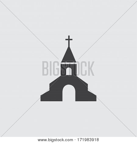 Church icon in a flat design in black color. Vector illustration eps10