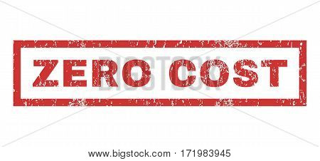Zero Cost text rubber seal stamp watermark. Tag inside rectangular shape with grunge design and dirty texture. Horizontal vector red ink emblem on a white background.