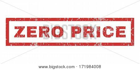 Zero Price text rubber seal stamp watermark. Caption inside rectangular shape with grunge design and scratched texture. Horizontal vector red ink emblem on a white background.