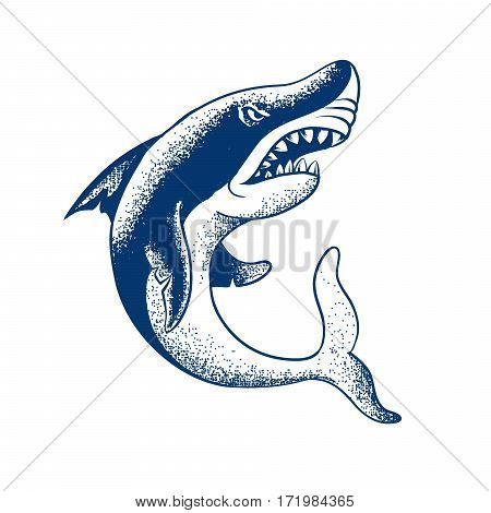 shark isolated on white background.engraved tattoo vector illustration
