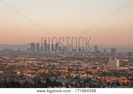 Los Angeles skyscrapers and Hollywood Skyscrapers. California
