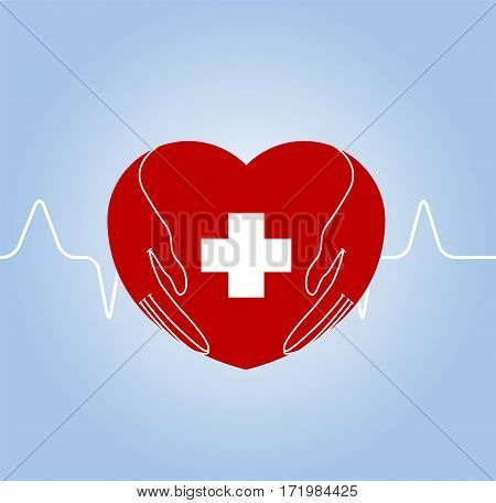 Heart with hands holding cross as symbol of medical care. Vector