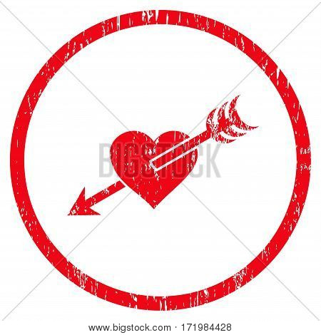 Arrow Heart grainy textured icon for overlay watermark stamps. Rounded flat vector symbol with unclean texture. Circled red ink rubber seal stamp with grunge design on a white background.