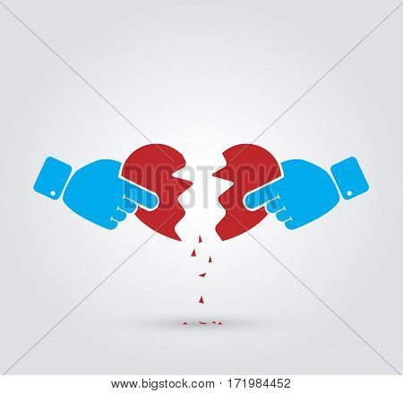 Hands breaking heart. Concept of conflict, quarrel, relationship break