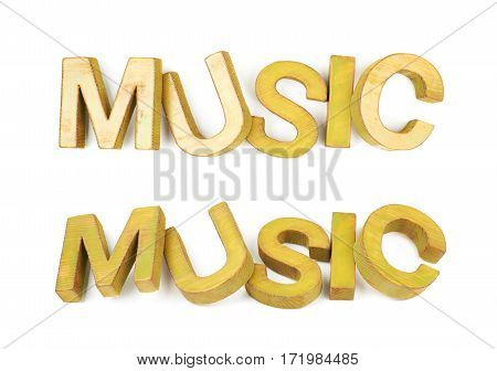Word Music made of colored with paint wooden letters, composition isolated over the white background, set of two different foreshortenings