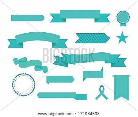 Vector set of ribbons. Modern flat icons in stylish colors. Icons for Web and Mobile Application. EPS 10. Isolated.