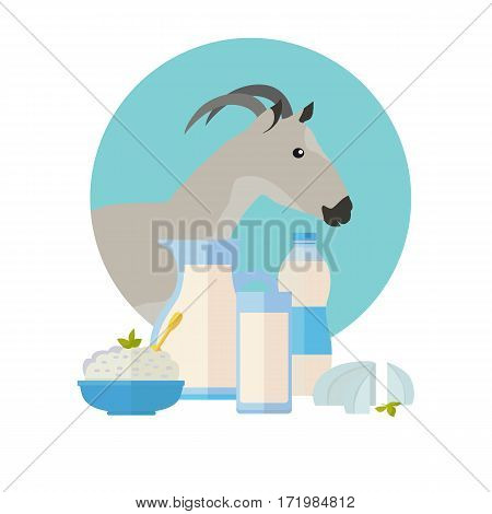 Goat icon with milk products. Goat breeding. Dairy set milk in jug, sour cream, cottage cheese, butter and cream. Cheese making logo design. Agricultural farming concept. Vector illustration