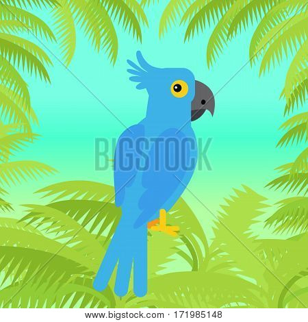 Blue macaw flat design vector. Wild rare amazonian bird. Exotic parrot sitting in palm trees brunches. Tropical fauna species. For nature concepts, children s books illustrating, printing materials