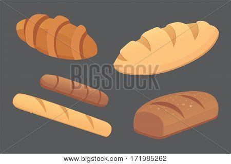 different breads and bakery products vector illustrations. Buns for breakfast. set bake food