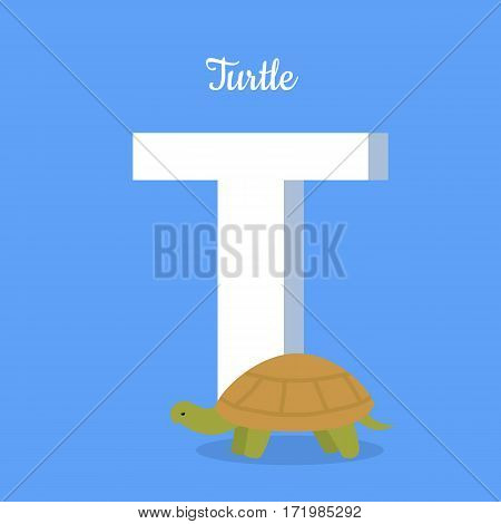 Animals alphabet. Letter - T. Big turtle stands near letter. Alphabet learning chart with animal illustration for letter and animal name. Vector zoo alphabet with cartoon animal on blue background