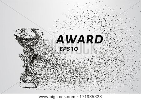 The Award Of The Particles. Sports Trophy Consists Of Circles And Points. Vector Illustration
