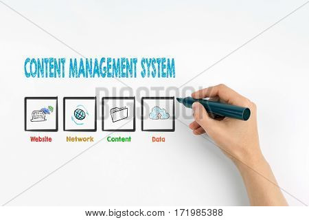 Hand with marker writing -Content Management System concept.
