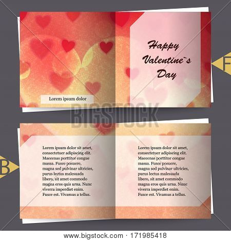 Brochure template with love background. Eps10 Vector illustration