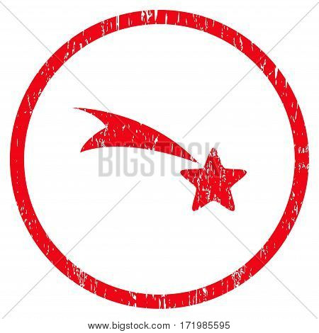 Falling Star grainy textured icon for overlay watermark stamps. Rounded flat vector symbol with scratched texture. Circled red ink rubber seal stamp with grunge design on a white background.