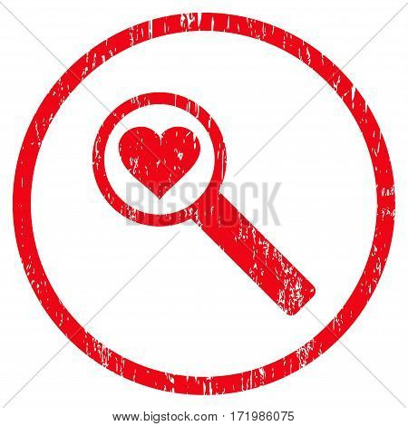 Find Love grainy textured icon for overlay watermark stamps. Rounded flat vector symbol with scratched texture. Circled red ink rubber seal stamp with grunge design on a white background.