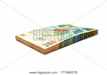 romanian money stack isolated over white background