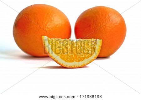 Closeup of oranges on a white background