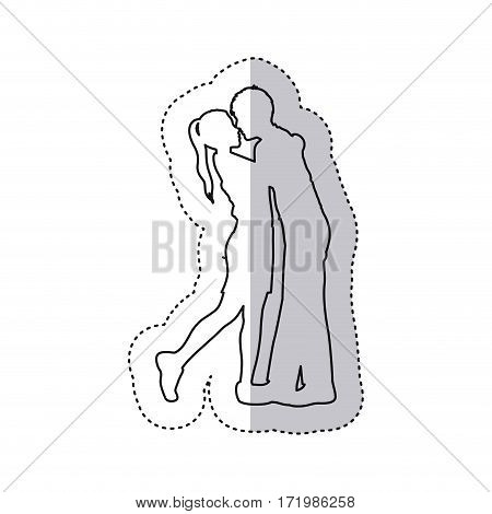 sticker monochrome contour with couple embracing and kissing vector illustration