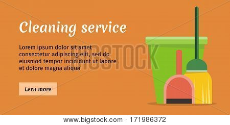 Brown cleaning service banner with green bucket, broom green and red scoop. House cleaning service, professional office cleaning, home cleaning, domestic cleaning service. Website template