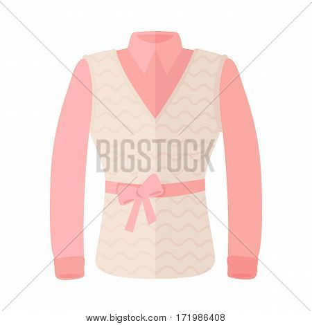 Pink blouse with sleeveless and bow on belt. Women everyday clothing in casual style flat vector illustration isolated on white background. For clothing store ad, fashion concept, app button, web