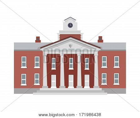 Big brown building with four white columns in simple cartoon style isolated illustration. Two floors. Round clock on top of establishment. Front view. Museum. School. College. Flat design. Vector