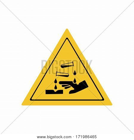Corrosive substance sign vector design isolated on white background