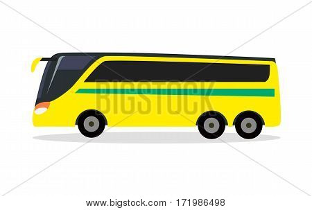 Big yellow bus for transporting football team. Transport. Bus icon. Bus isolated. Football matches. Football players transportation. Bus for traveling. Great amount of passengers. Side of bus. Vector
