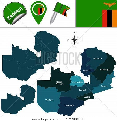 Map Of Zambia With Named Provinces