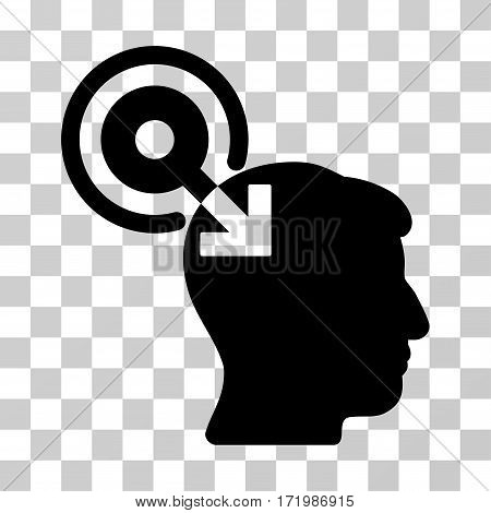 Brain Interface Plug-In vector icon. Illustration style is a flat iconic black symbol on a transparent background.