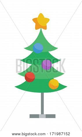 Decorated with toys and star christmas tree icon. Fir or Pine on metal stand cartoon flat vector isolated on white. Celebrating Merry Christmas, Happy New Year. For Christmas greeting card, invitation