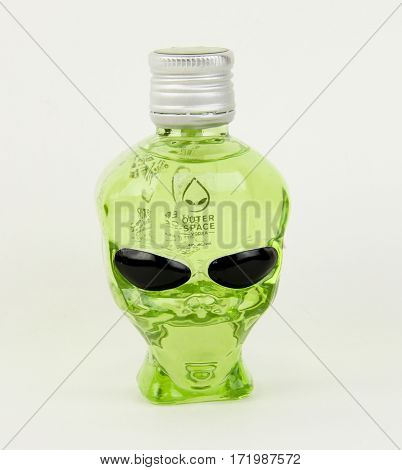 Spencer Wisconsin February 17 2017 Bottle of Outer Space Vodka Outer Space Vodka is produced in America