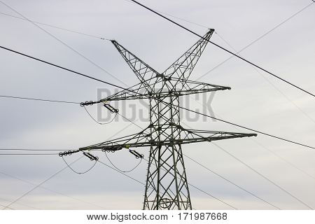 Industrial Landscape - View Of The Electric Poles.