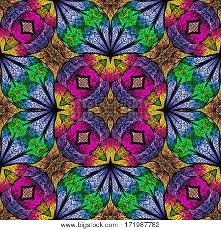 Multicolored floral pattern in stained-glass window style. You can use it for invitations notebook covers phone cases postcards cards wallpapers and so on. Artwork for creative design.