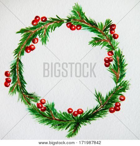 New Year And Christmas Wreath - Fir Tree And Mistletoe On White Isolated Background. Watercolor.