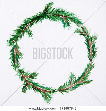 New Year And Christmas Wreath - Fir Tree On White Isolated Background. Watercolor.