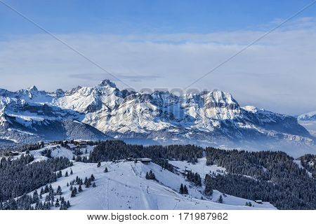 Ski domain located at high altitude in Alps in Beaufortain Massif in Haute-Savoie close to Mont Blanc.