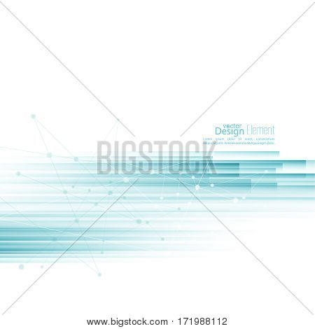 Abstract background with blue  stripes. Concept new technology and dynamic motion. Digital Data Visualization.  Annual Report with information dots, circle