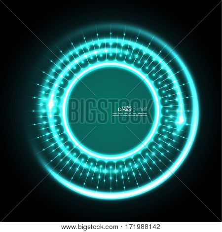 Abstract techno background with spirals and rays with glowing particles. Tech design. Lights vector frame. Glowing dots.  turquoise,  aquamarine, green