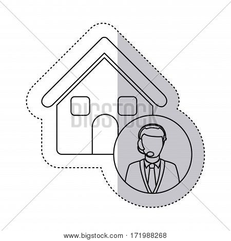 sticker monochrome contour house with male customer service vector illustration