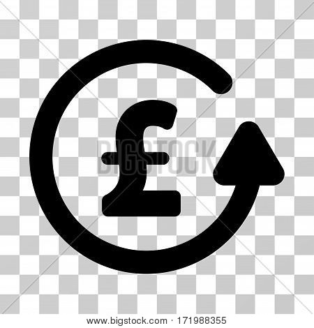 Chargeback Pound vector pictograph. Illustration style is a flat iconic black symbol on a transparent background.