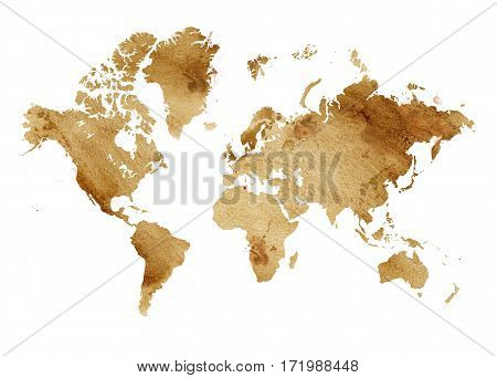 Illustrated map of the world with a isolated background. watercolor
